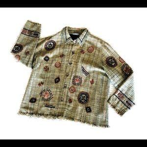Chico's Boho Silk brocade embroidered jacket sz3
